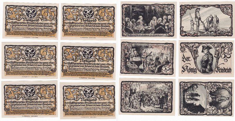 6 x 50 Pfennig Banknoten Notgeld Luftkurort Friedrichsbrunn 1921 (129947)
