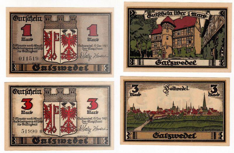 1 und 3 Mark Banknoten Notgeld Stadt Salzwedel 15.12.1921 (129880)