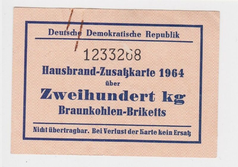 DDR Hausbrand-Zusatzkarte 1964 über 200 kg Braunkohlen-Briketts (129079)