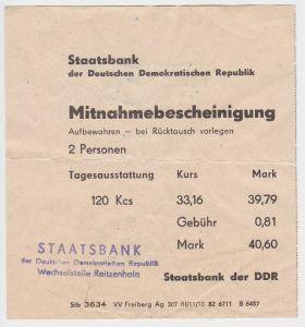 Mitnahmebescheinigung Staatsbank der Deutschen Demokratischen Republik (129435)