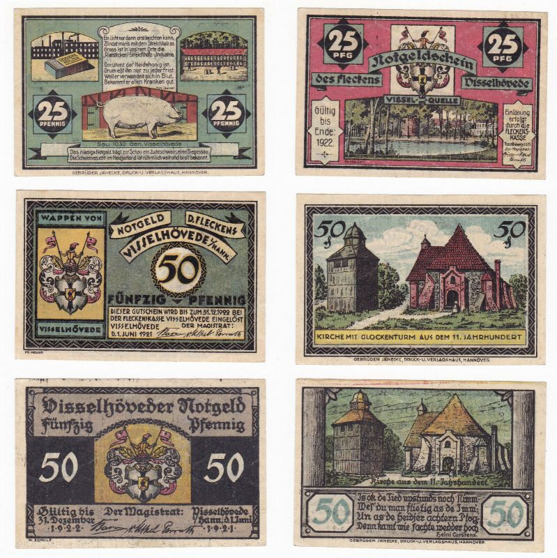 25 & 2 x 50 Pfennig Banknoten Notgeld Flecken Visselhöwede 1922 (129848)