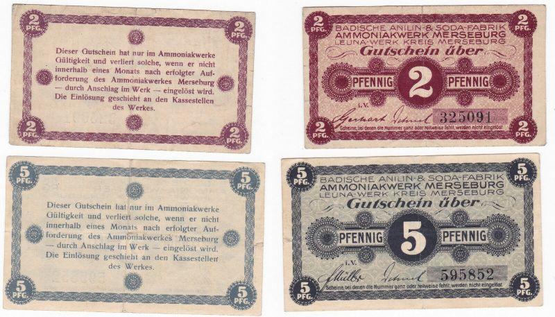 2 & 5 Pfennig Banknoten Notgeld Ammoniakwerk Merseburg ohne Datum (129935)