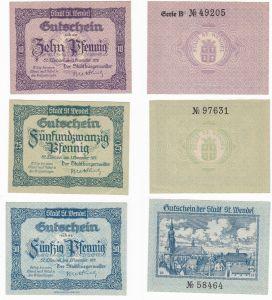 3 Banknoten Notgeld Stadt St.Wendel 1.November 1919 (129980)
