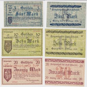 5, 10 & 20 Mark Banknoten Stadt Elberfeld 25.Oktober 1918 (130450)