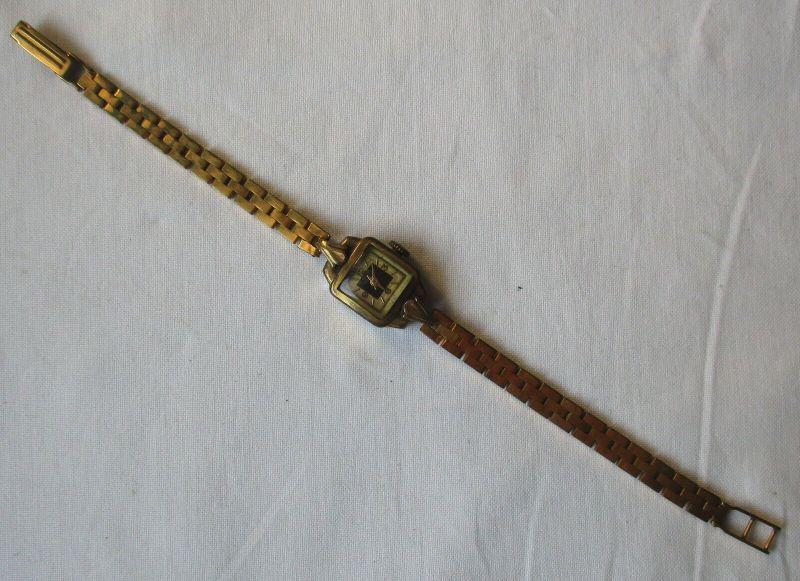 Seltene Damen Armbanduhr GUB Glashütte Walzgold-Doublé Made in GDR (129498) 0