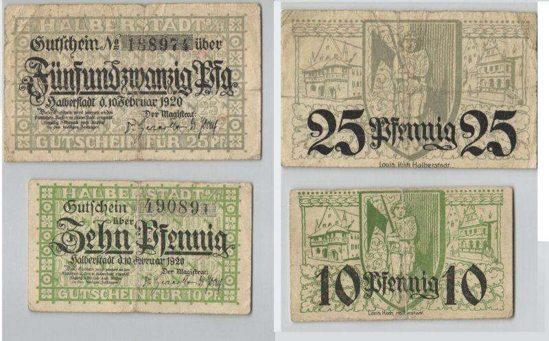 10 & 25 Pfennig Banknoten Notgeld Stadt Halberstadt 1920  (129539)