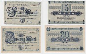 5 & 20 Mark Banknoten Kreishauptstadt Offenburg 22.Oktober 1918 (130658)