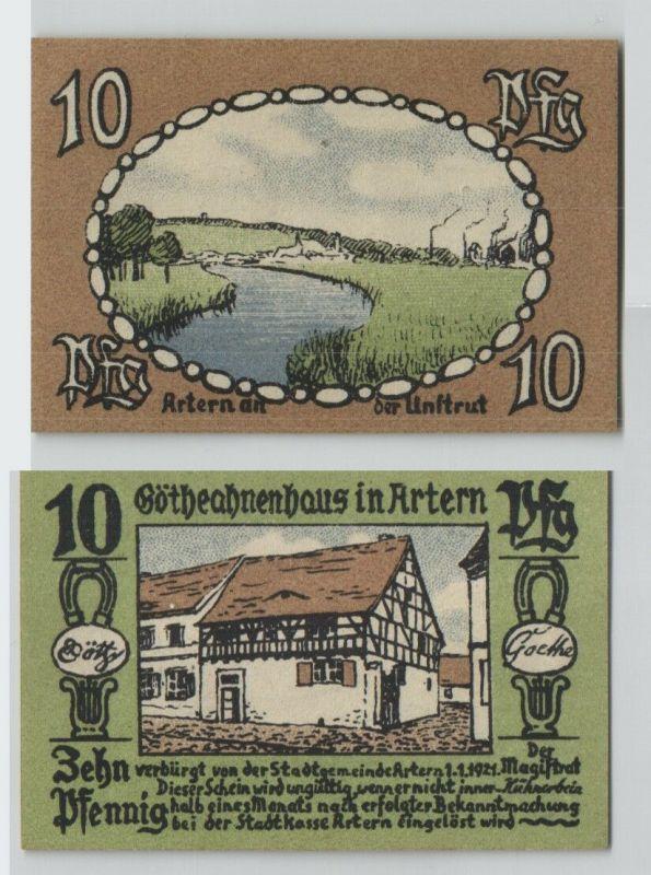 10 Pfennig Banknote Notgeld Artern an der Unstrut 1.1.1921  (129105)