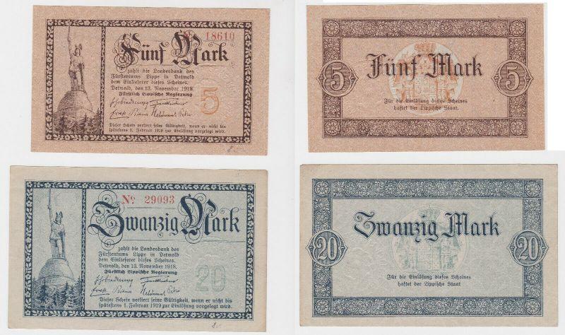 5 & 20 Mark Banknote Fürstlich Lippische Regierung Detmold 13.11.1918 (130509)