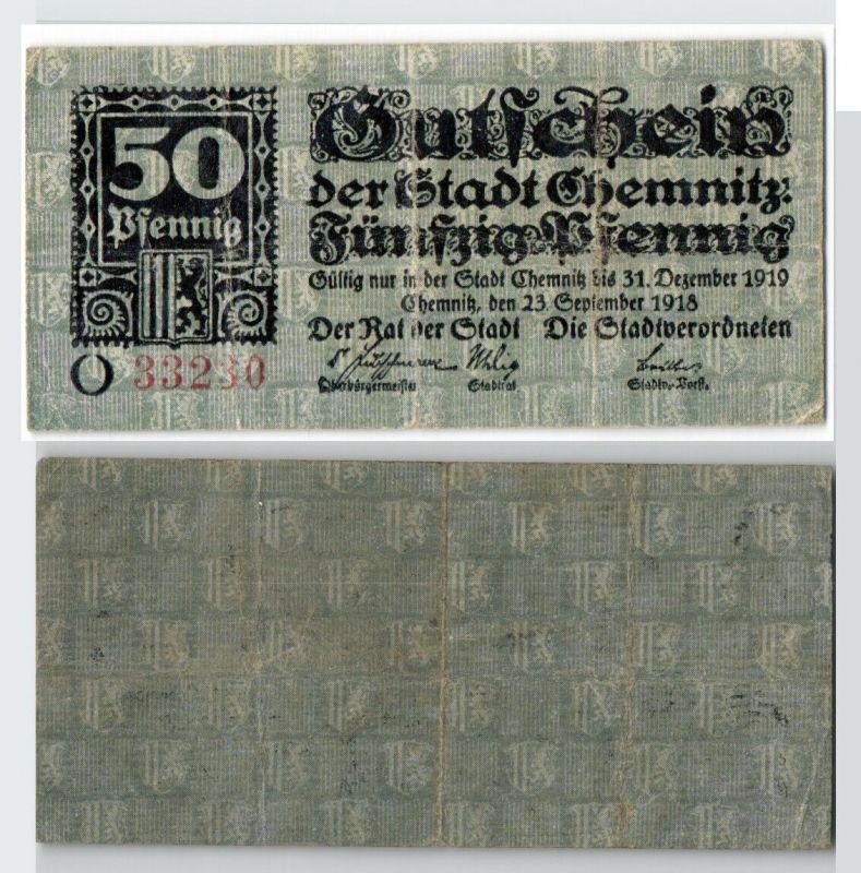 50 Pfennig Banknote Notgeld Stadt Chemnitz 23.September 1918  (129343)