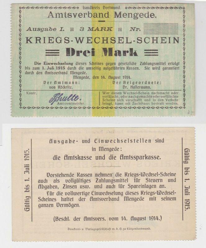 3 Mark Banknoten Kriegs-Wechselschein Amtsverband Mengede 1914 (130640)