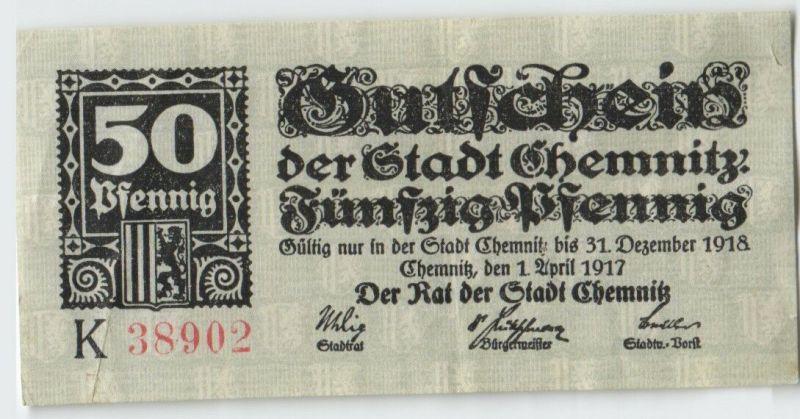 50 Pfennig Banknote Notgeld Stadt Chemnitz 1.April 1917  (129612)