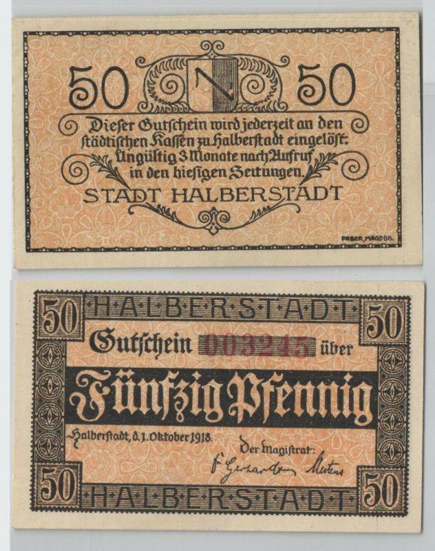 50 Pfennig Banknote Notgeld Stadt Halberstadt 1.Oktober 1918 (129628)