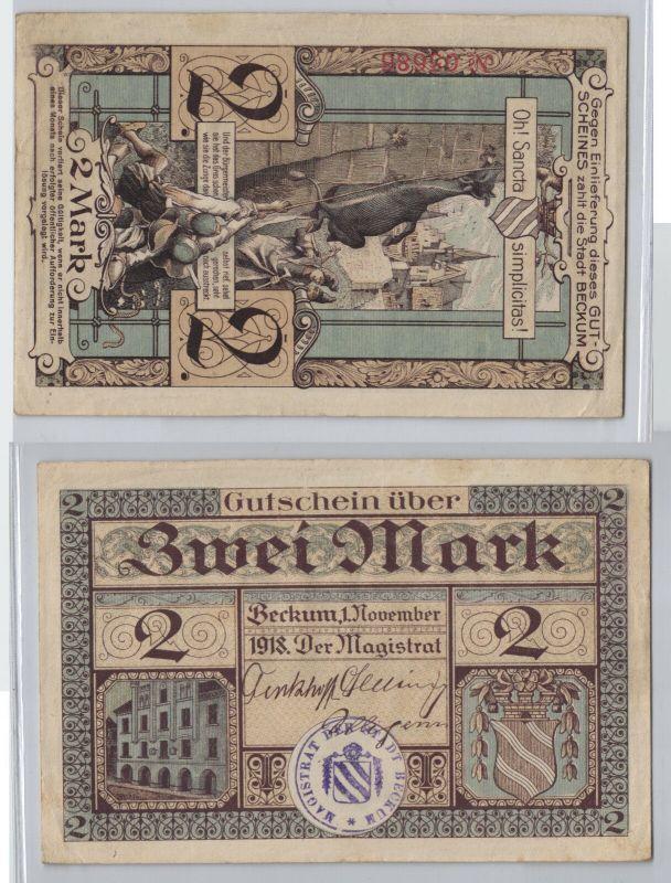 2 Mark Banknote Notgeld Stadt Beckum 1.November 1918 (129761)