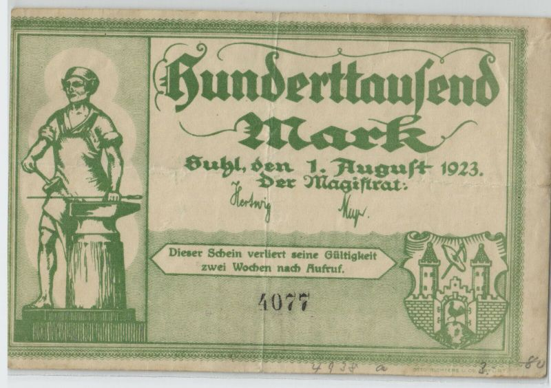 100000 Mark Banknote Inflation Stadt Suhl 1.August 1923  (129085)