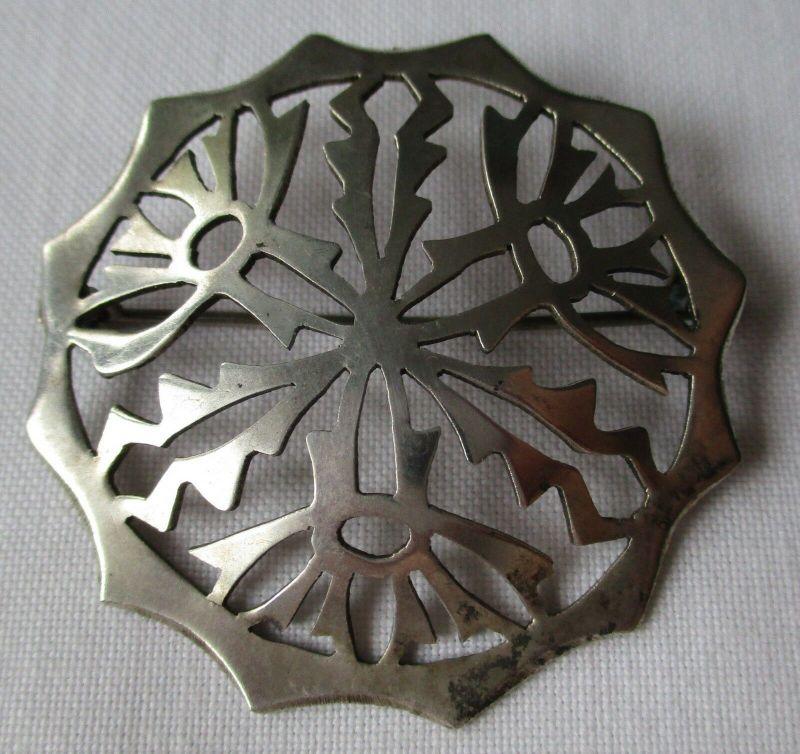 Elegante Brosche aus 800er Silber Handarbeit Kornblume (129571)