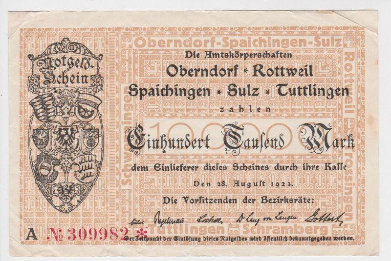 100000 Mark Inflation Banknote Stadtgemeinde Oberndorf usw. 28.8.1923 (129429)