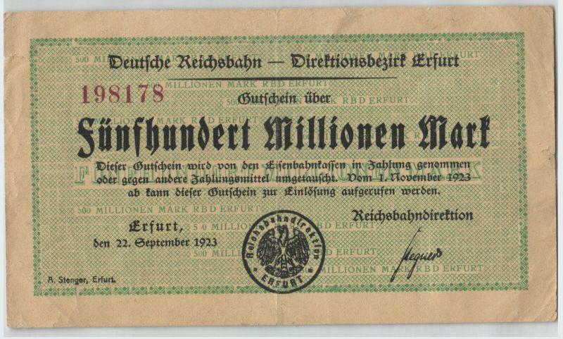 500000 Mark Banknote Reichsbahndirektion Erfurt 22.9.1923  (129592)