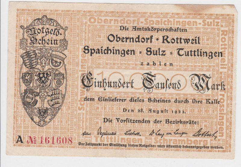 100000 Mark Inflation Banknote Stadtgemeinde Oberndorf usw. 28.8.1923 (129487)