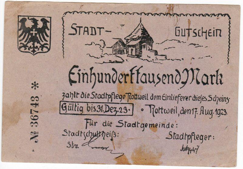 100000 Mark Inflation Banknote Stadtgemeinde Rottweil 17.8.1923 (129416)