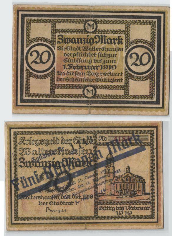 5 Millionen Mark Banknote Inflation Stadt Waltershausen 1923 (129437)