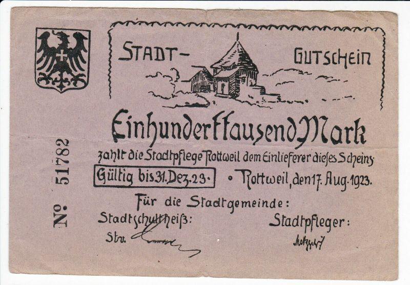 100000 Mark Inflation Banknote Stadtgemeinde Rottweil 17.8.1923 (129417)