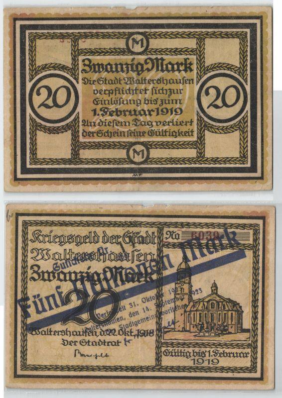 5 Millionen Mark Banknote Inflation Stadt Waltershausen 1923 (126430)