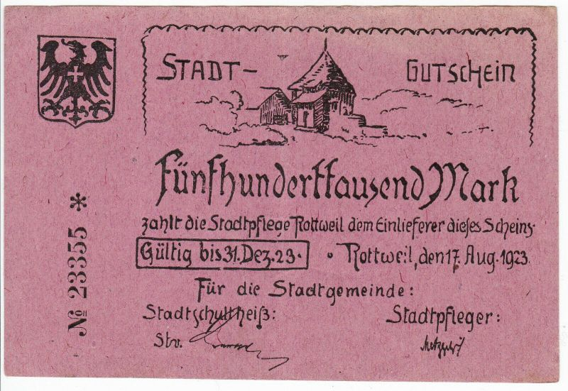 500000 Mark Inflation Banknote Stadtgemeinde Rottweil 17.8.1923 (129471)
