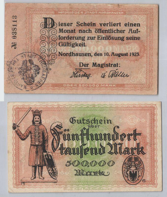500000 Mark Banknote Stadt Nordhausen 10.August 1923 (129580)