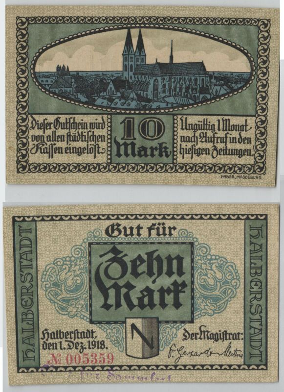 10 Mark Banknote Notgeld Stadt Halberstadt 1.Dezember 1918 (129080)