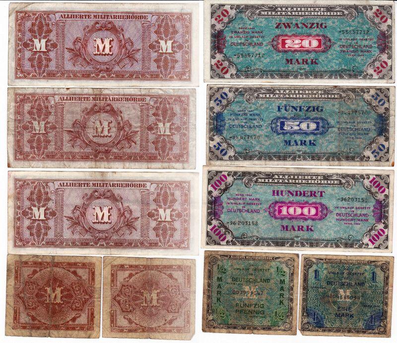 5 Banknoten 1/2 bis 100 Mark alliierte Besatzung 1944 (129981)