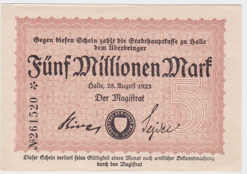 5 Millionen Mark Inflation Banknote Stadthauptkasse Halle 1923 (129483)