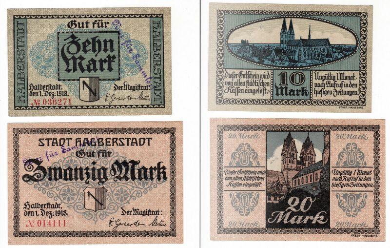 2 Banknoten Notgeld Stadt Halberstadt 1.Dezember 1918 (129894)
