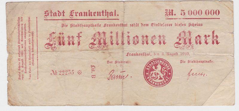 5 Millionen Mark Banknote Stadt Frankenthal 3.08.1923 (129384)