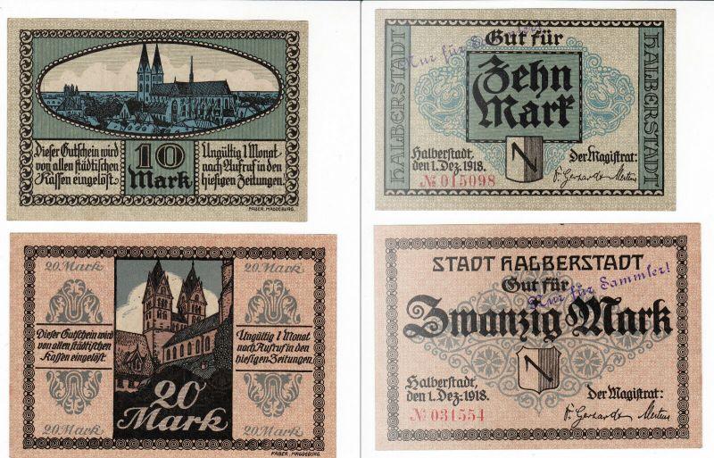 2 Banknoten Notgeld Stadt Halberstadt 1.Dezember 1918 (129846)
