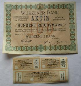 100 Reichsmark Aktie Wurzener Bank 14.März 1927 mit Zinsschein (129083)