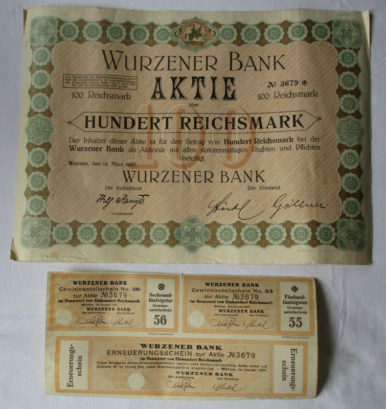 100 Reichsmark Aktie Wurzener Bank 14.März 1927 mit Zinsschein (129142)