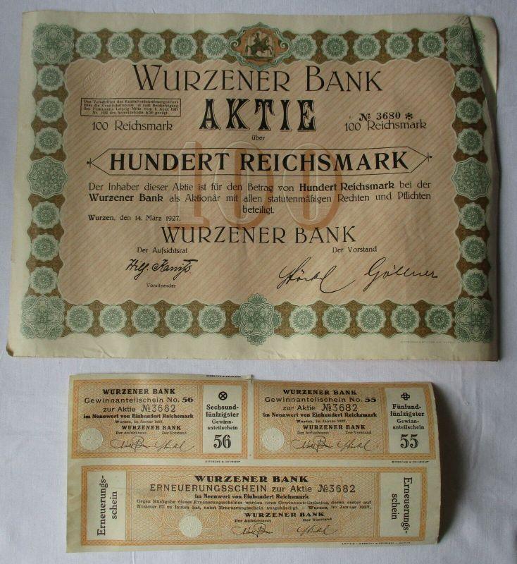 100 Reichsmark Aktie Wurzener Bank 14.März 1927 mit Zinsschein (129125)