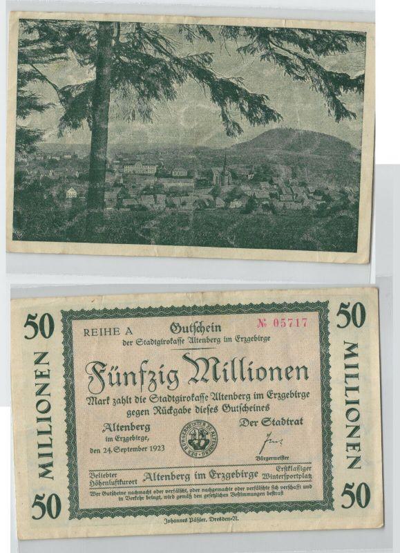 Banknote 50 Millionen Mark Notgeld der Stadt Altenberg 24.09.1923 (129056)