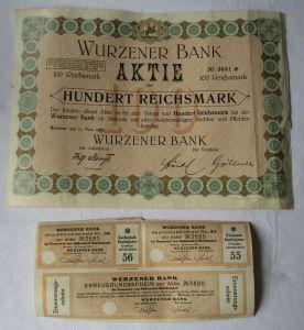 100 Reichsmark Aktie Wurzener Bank 14.März 1927 mit Zinsschein (129503)