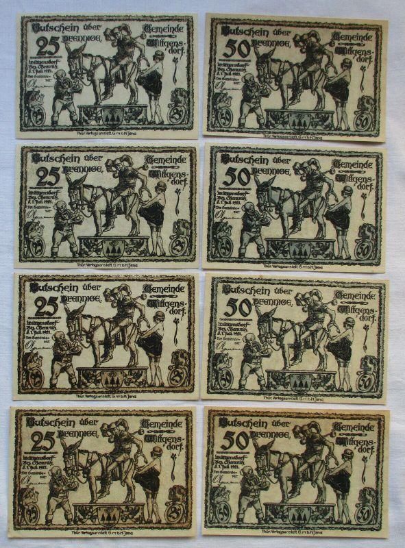8 Banknoten Notgeld Stadt Wittgensdorf 1921 (129482)