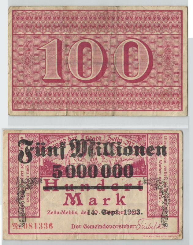 5 Millionen Mark Banknote Stadt Zella Mehlis 14.9.1923 (129790)