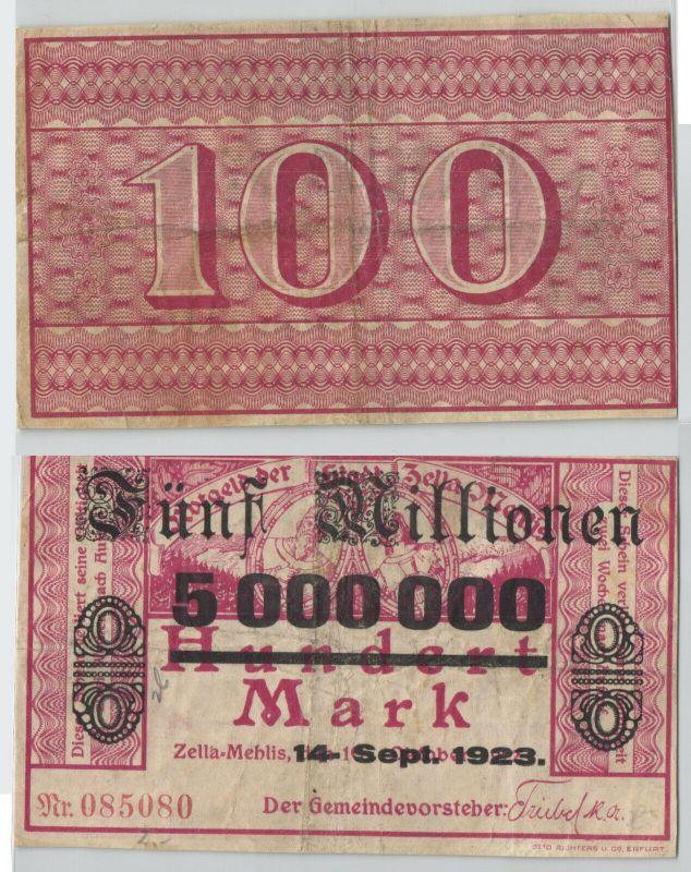 5 Millionen Mark Banknote Stadt Zella Mehlis 14.9.1923 (129211)