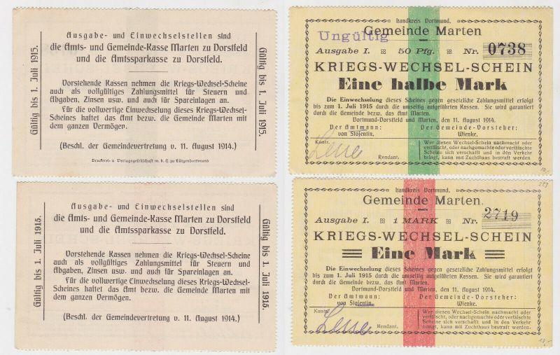 2 Banknoten Kriegs-Wechselschein Gemeinde Marten 11.08.1914 (130748)
