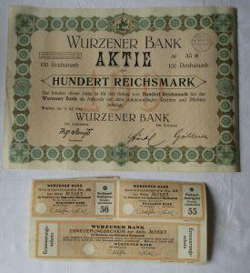 100 Reichsmark Aktie Wurzener Bank 14.März 1927 mit Zinsschein (129235)