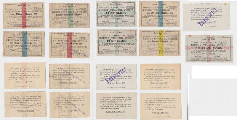 9 Banknoten Kriegs-Wechselschein Amt Datteln 1914-1918 (130720)