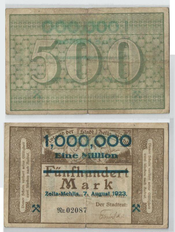 1 Million Mark Banknote Stadt Zella Mehlis 7.8.1923 (129203)