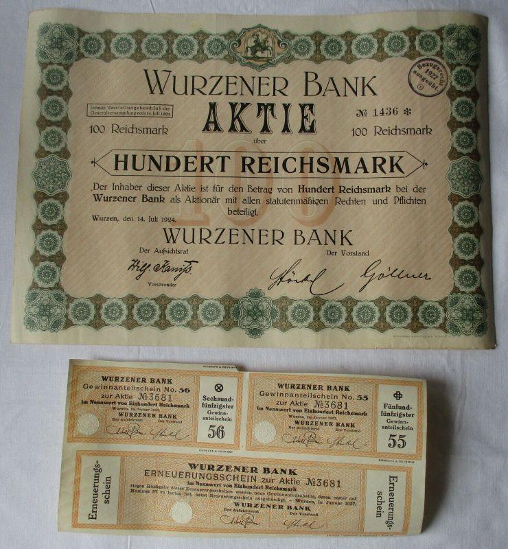 100 Reichsmark Aktie Wurzener Bank 14.März 1927 mit Zinsschein (129485)