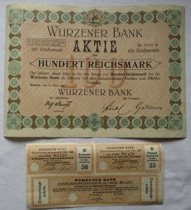 100 Reichsmark Aktie Wurzener Bank 14.März 1927 mit Zinsschein (128426)