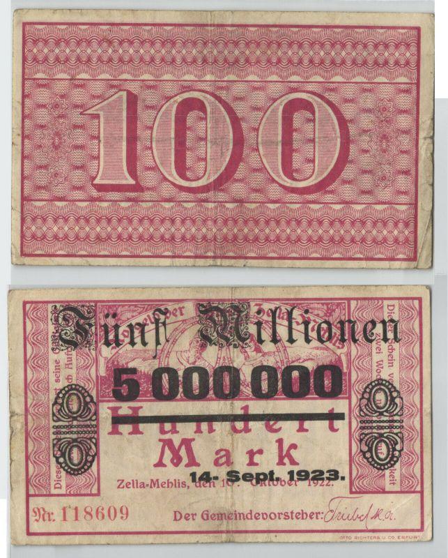 5 Millionen Mark Banknote Stadt Zella Mehlis 14.9.1923 (129289)